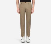 Hose aus Baumwoll-Stretch mit Seitenstreifen
