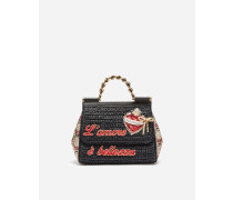 Handtasche Sicily aus Raffia und Brokat