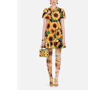 Kurzes Samt-Kleid Sonnenblumen-Print