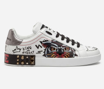 Portofino Sneakers aus Bedrucktem Kalbsleder mit Applikationen