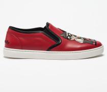 Slip-On Sneakers mit Designer-Patch und Applikationen