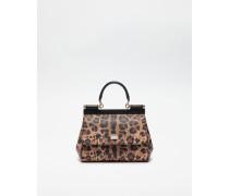 Kleine Tasche Sicily aus Kunstleder mit Leoparden-Print