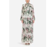 Langes Kleid AUS Chiffon MIT Tropischem Rosendruck