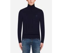 Pullover mit Stehkragen aus Wolle mit Kronenstickerei