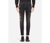 Skinny Stretch Jeans Schwarz Blumen-Print