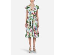 Midi-Kleid AUS Popeline Blumen-Print