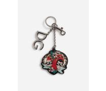 Schlüsselanhänger aus Metall und Kalbsleder mit Logo-Stickerei