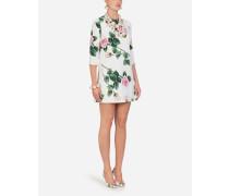 Kurzes Kleid AUS Cady MIT Tropischem Rosendruck