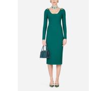 Midi-Kleid aus Woll-Crêpe mit Schmuckverzierungen