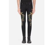 Skinny Stretch Jeans Engel-Print