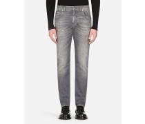 Slim Stretch Jeans Grau