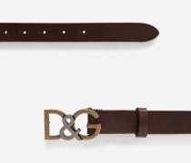 Ledergürtel mit Logo-Schnalle