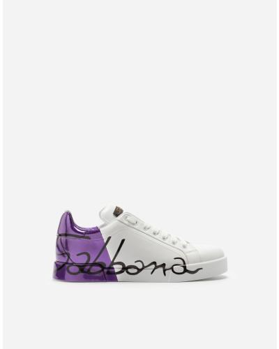 Dolce & Gabbana Damen Portofino Sneakers aus Leder und Fersenkappe Metallic Rabatt-Ansicht gzv2Z
