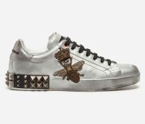 Sneaker Portofino aus Metallic-Kalbsleder mit Stickerei