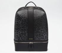Rucksack aus Krepp mit Leoparden-Print und Gummierten Boden