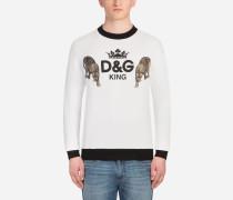 Bedrucktes Sweatshirt aus Baumwolle mit Patch