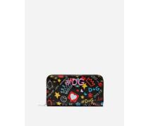 Portemonnaie mit Rundum-Reißverschluß aus Bedrucktem Dauphine-Kalsbleder