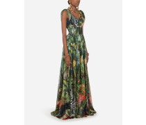 Langes Kleid AUS Georgette Jungle-Print