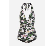 Rückenfreier Badeanzug mit Lilien-Print