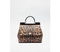 Mittelgrosse Tasche Sicily aus Kunstleder mit Leoparden-Print