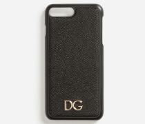 Iphone-7-Plus-Hülle aus Dauphine-Kalbsleder mit DG Logo