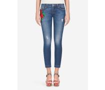 Jeans Fit Pretty aus Denim mit Stickerei