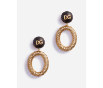 Ringförmige Ohrringe MIT Logokugel AUS Holz