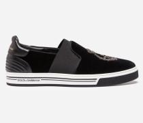 Slip-On Sneaker London aus Samt mit Stickerei