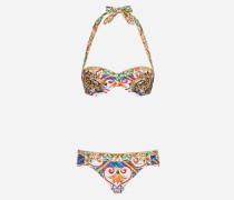 Bedruckter Bikini mit Bedrucktem Bandeau-Oberteil