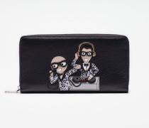 Portemonnaie aus Leder mit Rundumreißverschluss mit Designer-Patch