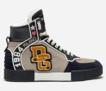 High-Top-Sneaker aus Materialmix