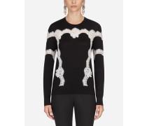 Pullover aus Wolle und Baumwolle mit Spitze