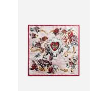 Bedrucktes Foulard aus Seide 50 x 50