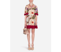 Kurzes Charmeuse-Kleid Blumen-Print