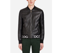 Jacke aus Leder mit Elastischem Logo-Riegel