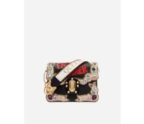 Schultertasche Lucia aus Leder mit Stickerei und Applikationen