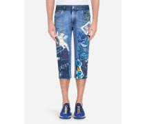 Kurze Bedruckte Jeans mit Patch