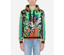 Kapuzen-Sweatshirt aus Baumwolle Super Hero King-Print