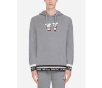 Baumwoll-Sweatshirt mit Kapuze und Patch DG Family