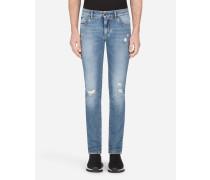 Stretch-Jeans mit Skinny Fit