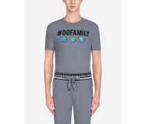 T-Shirt aus Baumwolle mit #dgfamily-Print und Patch