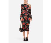 One-Shoulder-Kleid aus Seide mit Herzen- und Rosen-Print