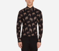 Gold Fit Hemd aus Bedruckter Baumwolle