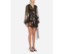 Kurzes Kleid AUS Lamé-Chiffon MIT Tropischem Rosendruck