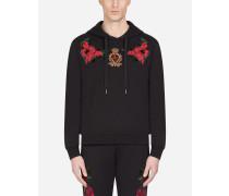 Sweatshirt aus Baumwolle mit Kapuze und Blumen-Patch