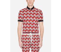 Poloshirt aus Baumwollpikee D&G ALL Over-Print