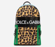 Rucksack Vulcano aus Bedrucktem Nylon mit Logo-Patch
