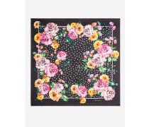 Halstuch aus Twill mit Nachtblumen-Print
