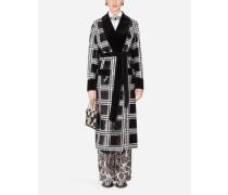 Mantel im Morgenmantel-Stil mit Pailletten und Samtdetails