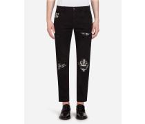 Stretch Skinny Jeans mit Einsätzen im Bandana-Print